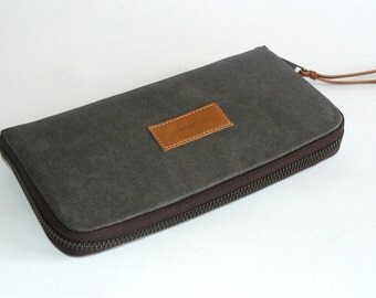 Handmade women's retro wallet // gray-grey waxed canvas with dark brown zipper women wallet-gift for her-gift for mom-