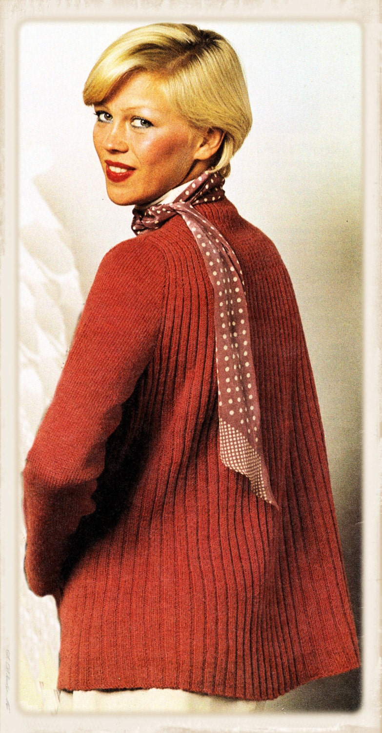 Swing Sweater Knitting Pattern : Instant Download PDF KNITTING PATTERN to make a Ribbed Swing
