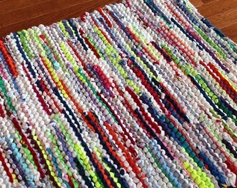 Rag Utility Rug Cottage Brights Upcycled T Shirt Purple Blue Yellow Pink White Kitchen Mat Laundry Rectangle 26x36 -US Shipping Included
