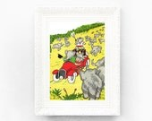 7x10 Vintage Babar Print. Original French Book Plate Illustration. Elephants Driving Car Safari Paris Jean De Brunhoff