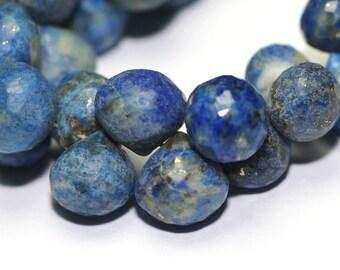 Lapis Lazuli Micro Faceted Onion Briolettes 4 Denim Blue Gold White Semi Precious Gemstone