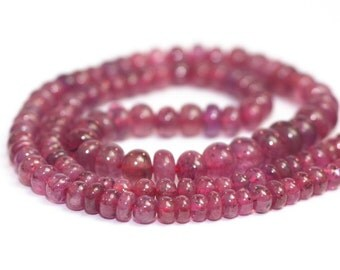 Ruby Smooth Rondelles 10 Raspberry Pink Precious Gemstones July Birthstone