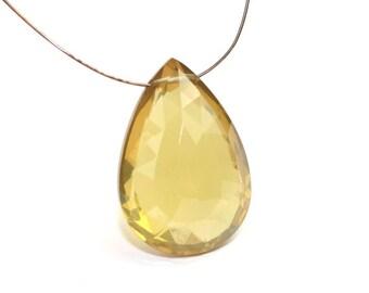 Dark Champage Quartz Faceted Pear Briolette One Focal Dark Yellow Gold Semi Precious Gemstone