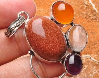 Goldstone, carnelian, amethyst  pendant (J340). Free shipping in USA