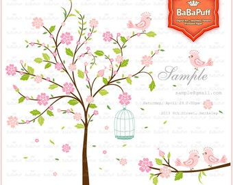 Pink Blossom Tree, Couple Tree Branch and Cute Birds Clip Art, For Your Wedding Invitations, Personal and Small Commercial Use.