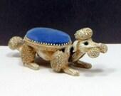 Vintage Florenza Nodder Poodle Pin Cushion Blue Velvet Rhinestone Eyes