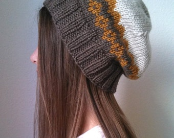Knit slouchy hat  - THE INFINITY HAT  -  (choose your own color combination - made to order)