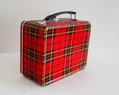 1960s Red Plaid Tartan Lunch Box by King Seeley Thermos Co. - Mid Century Style