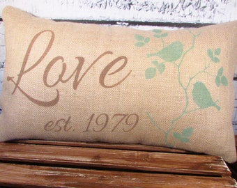 Burlap pillow with Love or family name and established date - 12X20 -  lumbar - wedding gift - decor