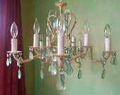 50% OFF - Chandelier Lighting, Aqua Crystal and Ivory, Layaway Available
