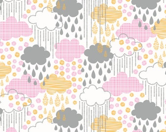 Blown Away - Rainy Day Pink Cotton Print Fabric from Blend Fabrics