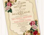 Victorian wedding invitation, classic Victorian bridal shower, Victorian bride, floral and creamy bridal shower, vintage wedding, IN263