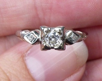 ART DECO Classic wedding ring solitaire ring in 18Kt white gold ring  25 point European cut diamond Bright Diamond