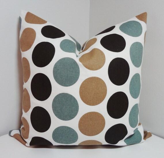 Brown Mocha & Blue Large Polka Dot Pillow Cover Decorative