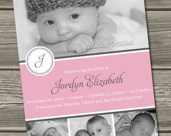 Sweet Baby Girl Birth Announcement (Digital File) Jordyn - I Design, You Print