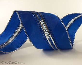 "Wired Ribbon Royal Blue Metallic, 2 1/2"" width - TEN YARD ROLL -  ""Lined Up"" Christmas / Chanukah  Craft Wire Edged Ribbon"