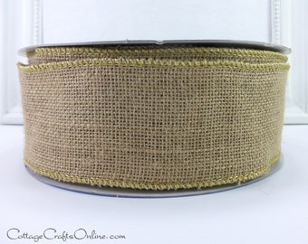 "Wired Burlap Ribbon, 2 1/2"" wide Natural Jute, THREE YARDS,  Burlap Offray Tan, Beige, Decor, Craft Wire Edge Ribbon"
