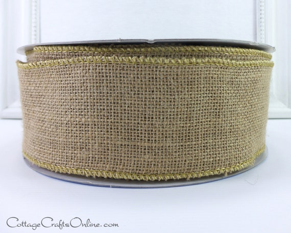 """Wired Burlap Ribbon, 2 1/2"""" wide Natural Jute, THREE YARDS,  Burlap Offray Tan, Beige, Decor, Craft Wire Edge Ribbon"""