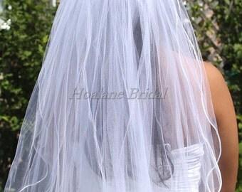 Veil, Bridal  Veil,  Two Tiers Veil,  Waist Length Veils, Rattail Veils