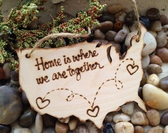 HOLIDAY Ornament USA Map Christmas Ornament Gift Tag Home is Where We Are Together New Home Your States Transplants Military Families