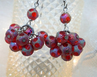 Red ChaCha Dangle Earrings, Sterling Silver Wires. Red Dangles, RED Earrings - Sassy Dangle RED Earrings, Valentine's Day Gift to Yourself