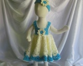 Baby Dress and Headband - Frilly and Full in Aqua Turquoise and Creamy Vanilla Off White - Newborn Up to 3 Months