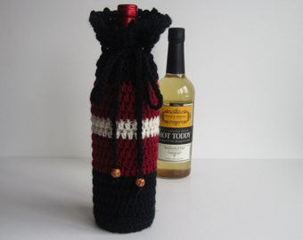 Crochet Wine Bottle Cover Cozy Gift Wrap - Black Burgundy Off White with Wood Beads