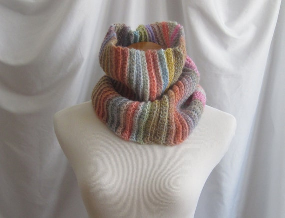 Cowl Crochet:  Pastel Rainbow with Hints of Pink, Blue Peach, Purple