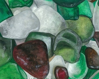 Cape Cod Sea Glass Study Number 3. Watercolor by Damon Crook (print fitted for 11 x 14 frame)