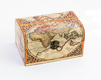 Map of the World Red Decoupage Box, Gold Orange Treasure Vintage Decorative Box, Jewelry box,  Keepsake box, Memory box, Wooden Box