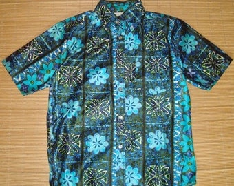 Mens Vintage 60s Mod Floral Hawaiian Shirt - L - The Hana Shirt Co