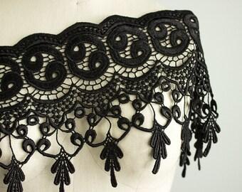 Chloe Large BLACK Elegant Fringe Lace Trim / Bridal / Wedding Dress Trim / Fashion Design / Sewing / Home Decor / Also in Ivory And Brown