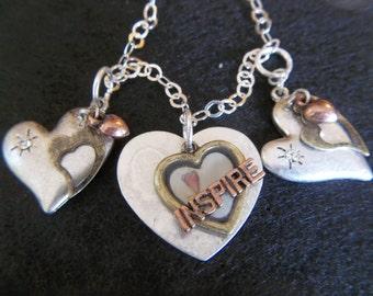 Heart Charm Bracelet - Inspirational Jewelry - Silver Jewelry