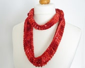 Poppy red wool skinny scarf /cowl - luxury hand dyed yarn - infinity scarf