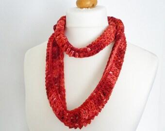 Poppy red wool skinny scarf /cowl - luxury hand dyed yarn - infinity scarf