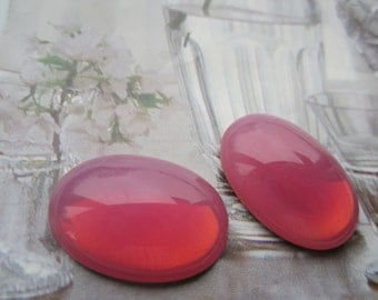 Czech 25x18mm Rose Opal Glass Cab 2Pcs.