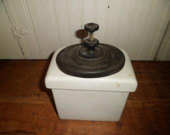vintage 1940's porcelain soda fountain syrup/fruit dispenser with ladle