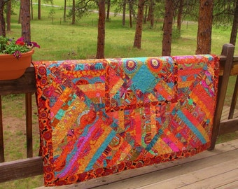 TANGERINE DREAMS - Quilt or Table Topper inspired by Kaffe Fassett designs