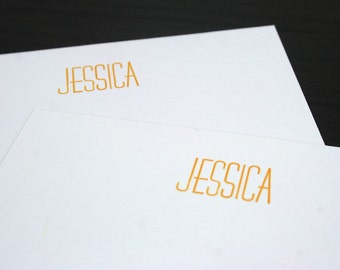 Custom Personalized Letterpress Notecards/Stationery - Set of 20 - Huxley Vertical