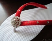 RED Flip Flops. Bridal  flip flops w/ Swarovski Crystals.Wedding Red flip flops.Bridal Party.Other colors available-BELLA-RED