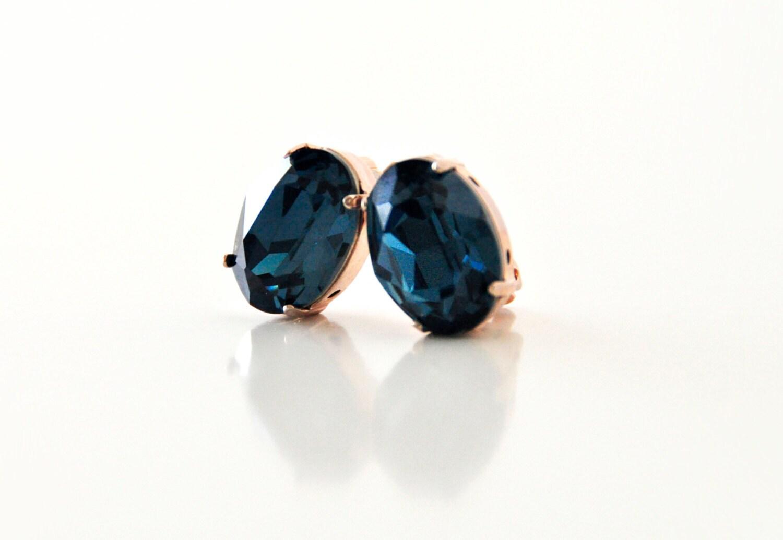blue gemstone clip earrings swarovski earrings blue