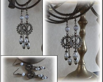 """Victorian Lady Exclusive """"Cogs & Pearls"""" Steampunk Altered Art Earrings"""