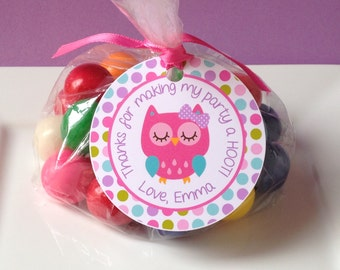 12 Owl Birthday Party Favor Tags in Pink, Purple, Teal and Green