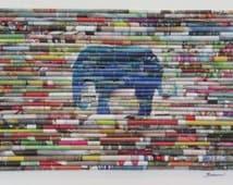 "Modern recycled art, animal art, modern wall art, upcycled magazine images, mixed media fine art, ""Blue Elephant"""