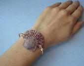 Unisex Leather and Atlantic Calico Scallop Seashell Bracelet