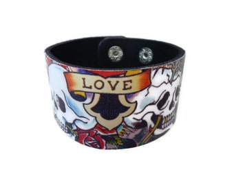 Leather Bracelet. Hottest Skull Leather Bangle Bracelet