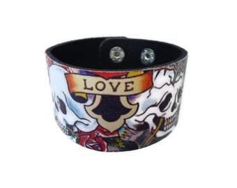 Leather Bracelet. Hottest Skull Leather Bangle Bracelet