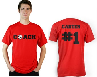 Soccer Coach Personalized shirt with front and back design