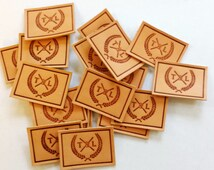 Custom Logo (font) handmade leather labels with debossing effect (Initial Setup Cost for Standard size: Initial 30 labels/tags)