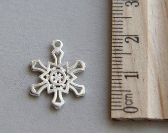 925 Sterling Silver Charm, Snow flake Charm, Snowflake Charm, Sterling Silver Christmas Snowflake Charm, Snow Charm, 16 x 18mm ( 1 piece )